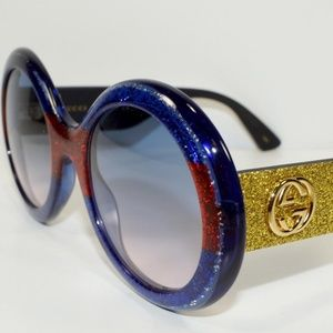GUCCI ROUND BLUE RED YELLOW GLITTER SUNGLASSES